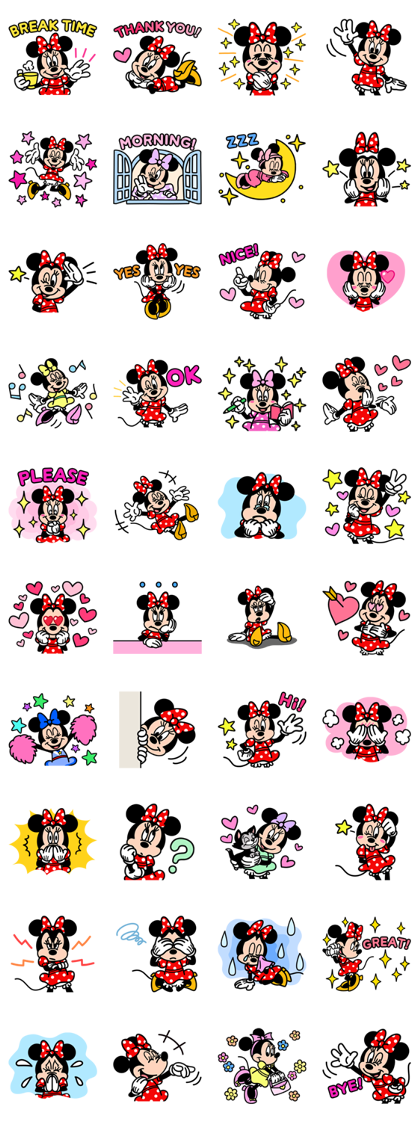 Minnie Mouse: Cute Pop Line Sticker GIF & PNG Pack: Animated & Transparent No Background | WhatsApp Sticker