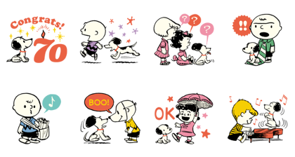 PEANUTS celebrating 70 years Line Sticker GIF & PNG Pack: Animated & Transparent No Background | WhatsApp Sticker