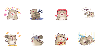 Si Unis: Cat Noises Line Sticker GIF & PNG Pack: Animated & Transparent No Background | WhatsApp Sticker