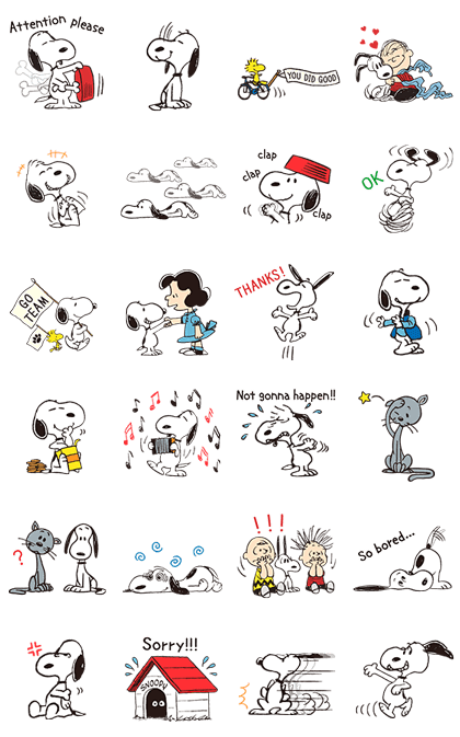 Snoopy Gets Movin' Line Sticker GIF & PNG Pack: Animated & Transparent No Background | WhatsApp Sticker