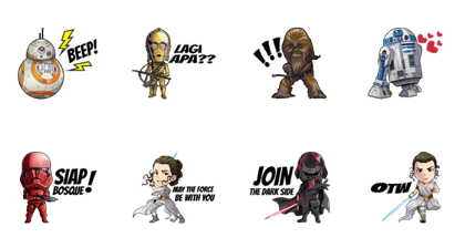 Star Wars : The Rise of Skywalker Line Sticker GIF & PNG Pack: Animated & Transparent No Background | WhatsApp Sticker
