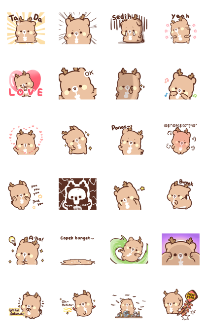 SweetHouse Happy Deer 2 Line Sticker GIF & PNG Pack: Animated & Transparent No Background | WhatsApp Sticker