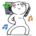 White Weird Cat: Daily Movements Sticker for LINE & WhatsApp | ZIP: GIF & PNG