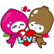 momo co & Dr. kiwi -LOVE Story Sticker for LINE & WhatsApp | ZIP: GIF & PNG