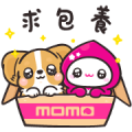 momoco × Corgi KaKa acting cute Sticker for LINE & WhatsApp | ZIP: GIF & PNG