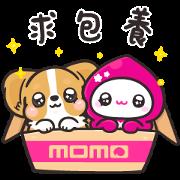momoco × Corgi KaKa acting cute Sticker for LINE & WhatsApp | ZIP: GIF & PNG