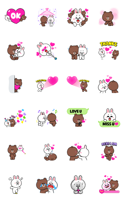 Brown & Cony's Eternal Love Line Sticker GIF & PNG Pack: Animated & Transparent No Background | WhatsApp Sticker