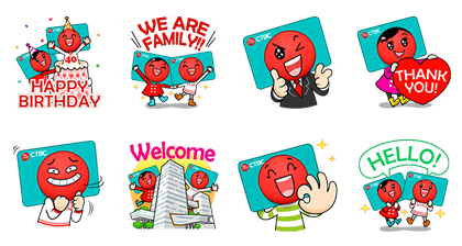 CTBC Credit Card 40th Anniversary Line Sticker GIF & PNG Pack: Animated & Transparent No Background | WhatsApp Sticker