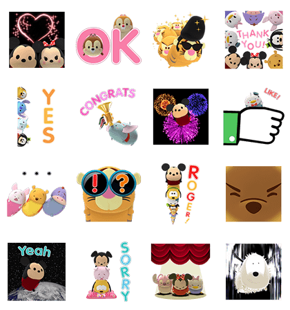 Disney Tsum Tsum Pop-Up Stickers Line Sticker GIF & PNG Pack: Animated & Transparent No Background | WhatsApp Sticker
