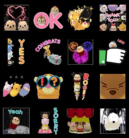 Disney Tsum Tsum Pop-Up Stickers Line Sticker GIF & PNG Pack: Animated & Transparent No Background | WhatsApp Sticker
