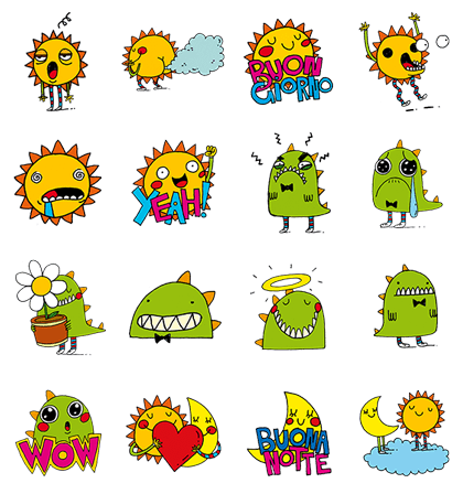 Funny Sunny Line Sticker GIF & PNG Pack: Animated & Transparent No Background | WhatsApp Sticker