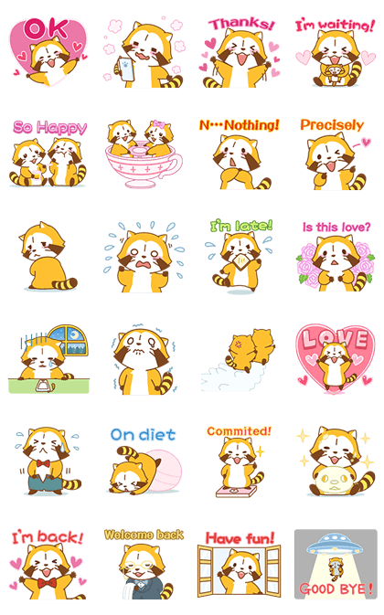 LOVE2 RASCAL Animated Stickers Line Sticker GIF & PNG Pack: Animated & Transparent No Background | WhatsApp Sticker