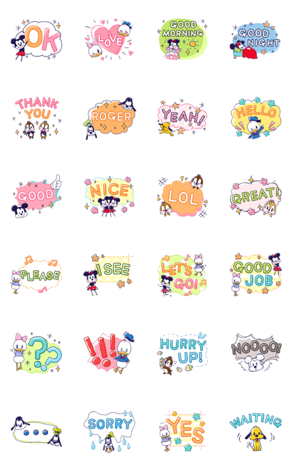 Mickey and Friends Large Letters Line Sticker GIF & PNG Pack: Animated & Transparent No Background | WhatsApp Sticker