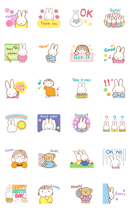 Miffy's Animated Pastel Stickers Line Sticker GIF & PNG Pack: Animated & Transparent No Background | WhatsApp Sticker