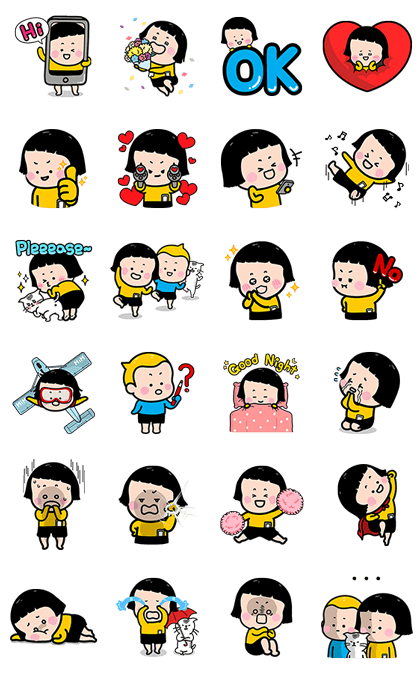 Mobile Girl, MiM Pop-Up Stickers Line Sticker GIF & PNG Pack: Animated & Transparent No Background | WhatsApp Sticker