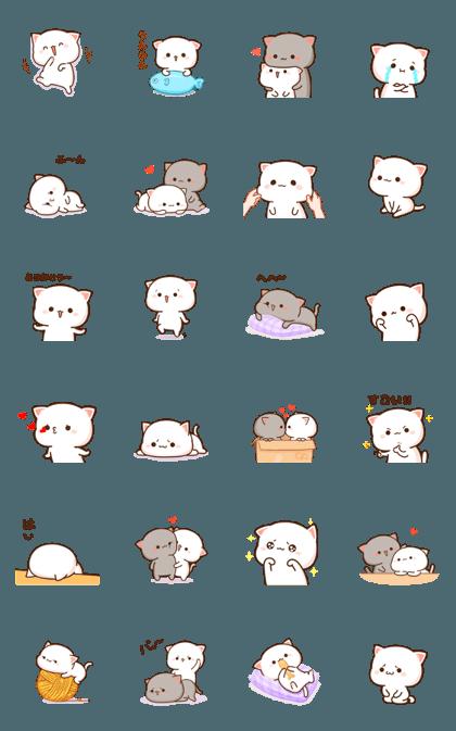 Mochi Mochi Peach Cat Line Sticker GIF & PNG Pack: Animated & Transparent No Background   WhatsApp Sticker
