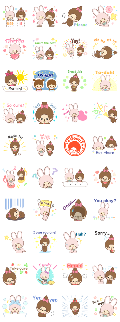 Monchhichi-chan and Chimutan Line Sticker GIF & PNG Pack: Animated & Transparent No Background   WhatsApp Sticker