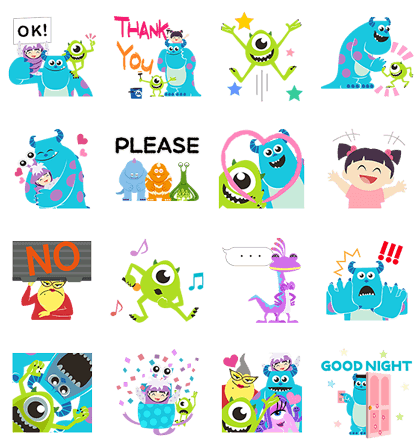 Monsters, Inc. Pop-Up Stickers Line Sticker GIF & PNG Pack: Animated & Transparent No Background | WhatsApp Sticker