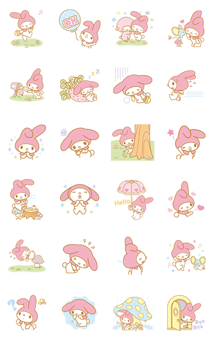 My Melody Animated Stickers Line Sticker GIF & PNG Pack: Animated & Transparent No Background | WhatsApp Sticker