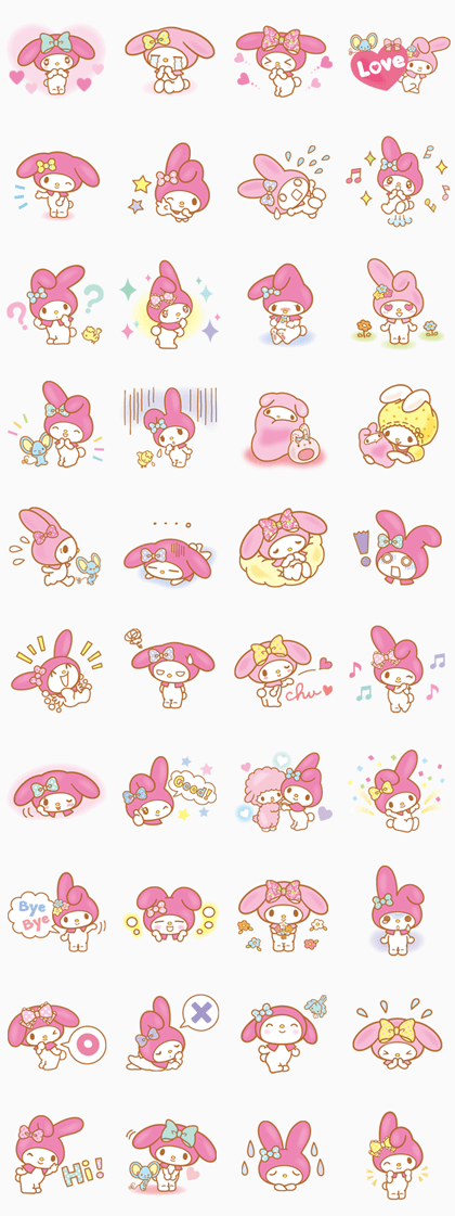 My Melody (Lovely Days ver.) Line Sticker GIF & PNG Pack: Animated & Transparent No Background | WhatsApp Sticker