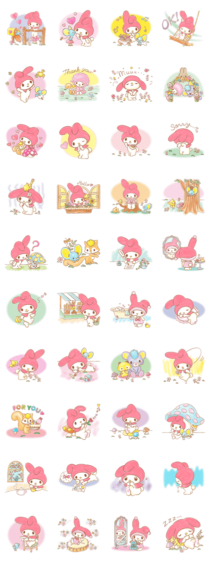 My Melody: Sweet Story Line Sticker GIF & PNG Pack: Animated & Transparent No Background | WhatsApp Sticker
