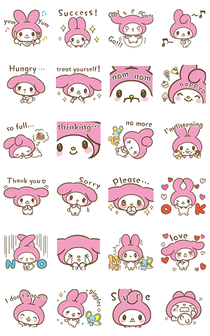 My Melody: Sweet as Can Be! Line Sticker GIF & PNG Pack: Animated & Transparent No Background | WhatsApp Sticker