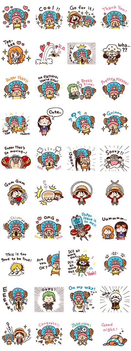 ONE PIECE Kanahei Style Line Sticker GIF & PNG Pack: Animated & Transparent No Background | WhatsApp Sticker