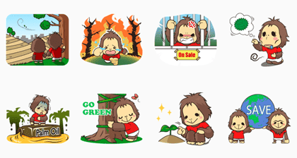 OrangUtan WWF Indonesia – Free Edition Line Sticker GIF & PNG Pack: Animated & Transparent No Background | WhatsApp Sticker