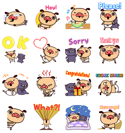 Panpaka Pants: Talking Pop-Ups Line Sticker GIF & PNG Pack: Animated & Transparent No Background | WhatsApp Sticker