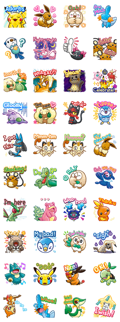Pokémon Chat Pals 2 Line Sticker GIF & PNG Pack: Animated & Transparent No Background | WhatsApp Sticker