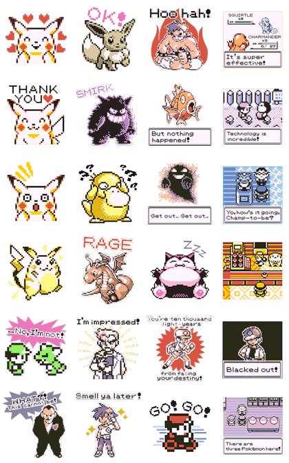 Pokémon Pixel Artwork and Sounds! Line Sticker GIF & PNG Pack: Animated & Transparent No Background | WhatsApp Sticker