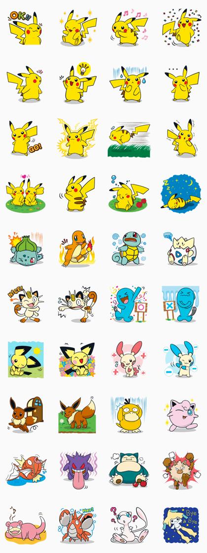 Pokémon Line Sticker GIF & PNG Pack: Animated & Transparent No Background | WhatsApp Sticker