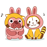 PokoPoko & Rascal Tie-Up Stickers! Sticker for LINE & WhatsApp | ZIP: GIF & PNG