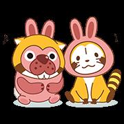 PokoPoko & Rascal Tie-Up Stickers! Sticker for LINE & WhatsApp | ZIP: GIF & PNG
