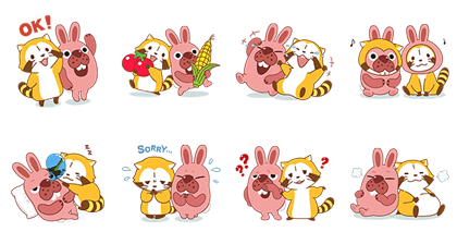 PokoPoko & Rascal Tie-Up Stickers! Line Sticker GIF & PNG Pack: Animated & Transparent No Background | WhatsApp Sticker