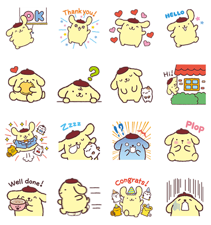 Pompompurin Pop-Up Stickers Line Sticker GIF & PNG Pack: Animated & Transparent No Background   WhatsApp Sticker