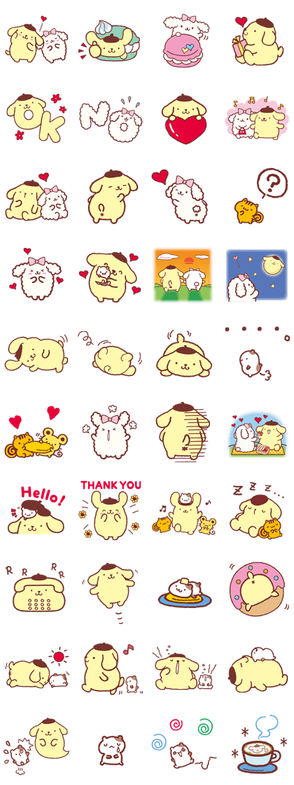 Pompompurin and Friends Line Sticker GIF & PNG Pack: Animated & Transparent No Background   WhatsApp Sticker