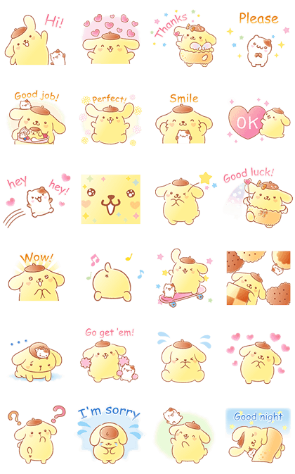 Pompompurin's Pastel Cuteness Line Sticker GIF & PNG Pack: Animated & Transparent No Background | WhatsApp Sticker