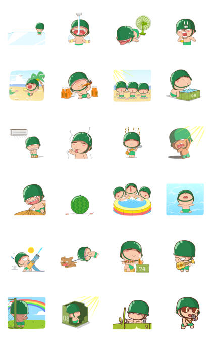Powpowbing's Summer Line Sticker GIF & PNG Pack: Animated & Transparent No Background | WhatsApp Sticker