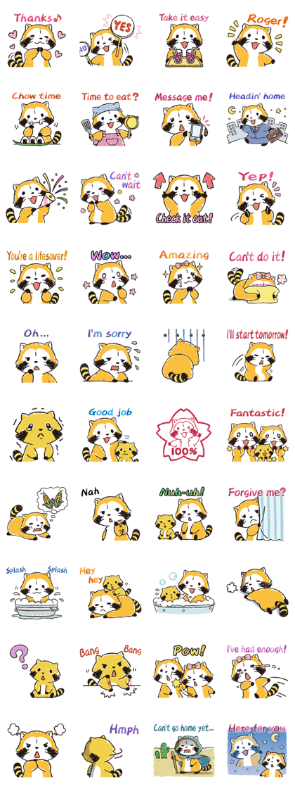 Rascal Family Pop Stickers Line Sticker GIF & PNG Pack: Animated & Transparent No Background | WhatsApp Sticker