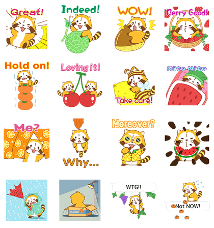 Rascal Fruity Feast Pop-Up Stickers Line Sticker GIF & PNG Pack: Animated & Transparent No Background | WhatsApp Sticker