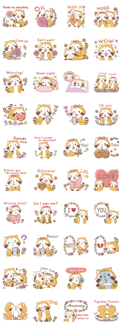Rascal and Lily: Cordial Couple Line Sticker GIF & PNG Pack: Animated & Transparent No Background | WhatsApp Sticker
