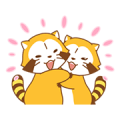Rascal and Lily: Raccoons in Love Sticker for LINE & WhatsApp | ZIP: GIF & PNG