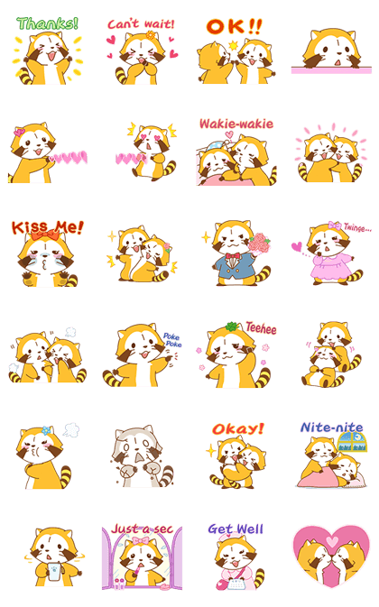 Rascal and Lily: Raccoons in Love Line Sticker GIF & PNG Pack: Animated & Transparent No Background | WhatsApp Sticker