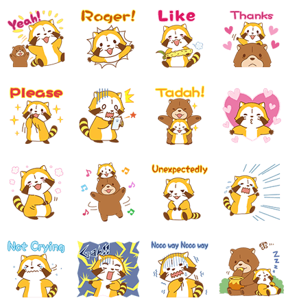 Rascal and Tanga Pop-Up Stickers Line Sticker GIF & PNG Pack: Animated & Transparent No Background | WhatsApp Sticker