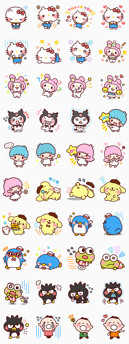 SANRIO CHARACTERS (Cartoon) Line Sticker GIF & PNG Pack: Animated & Transparent No Background | WhatsApp Sticker