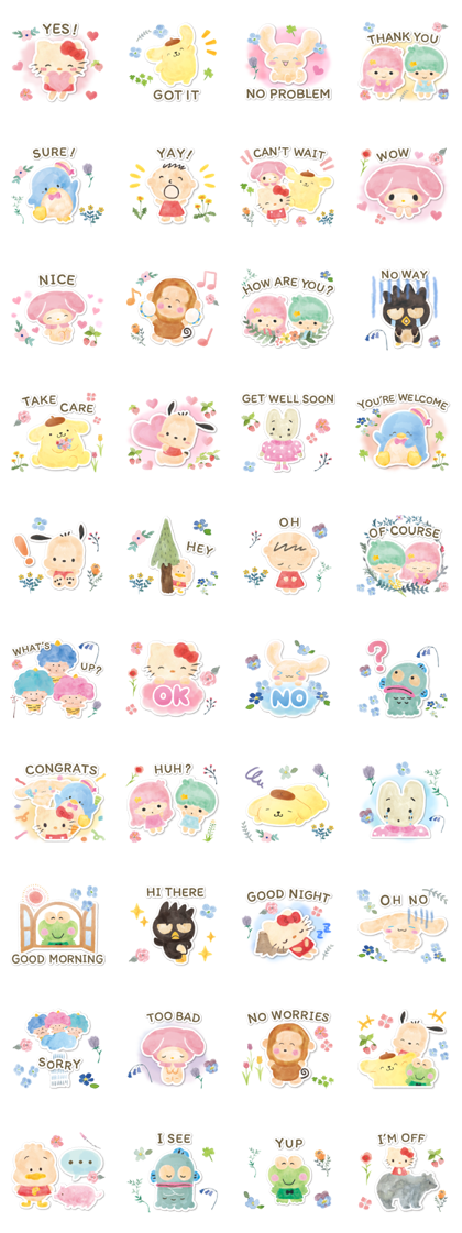 SANRIO CHARACTERS (Forest) Line Sticker GIF & PNG Pack: Animated & Transparent No Background | WhatsApp Sticker
