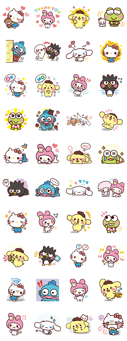 SANRIO CHARACTERS2 (Cartoons) Line Sticker GIF & PNG Pack: Animated & Transparent No Background | WhatsApp Sticker