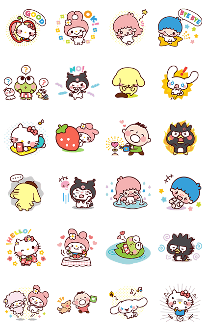 SANRIO CHARACTERS3 (Cartoons) Line Sticker GIF & PNG Pack: Animated & Transparent No Background | WhatsApp Sticker