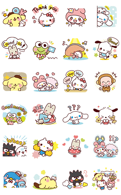 SANRIO CHARACTERS4 (Cartoons) Line Sticker GIF & PNG Pack: Animated & Transparent No Background | WhatsApp Sticker